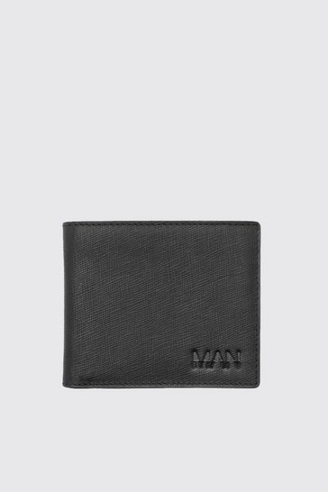 Mens Black Real Leather MAN Emboss Saffiano Wallet