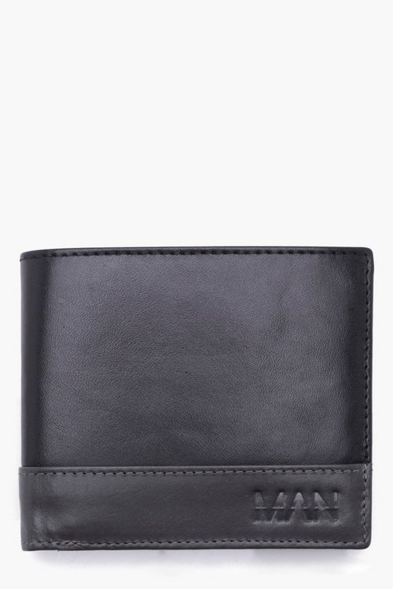 Real Leather Emboss Grey Panel Wallet