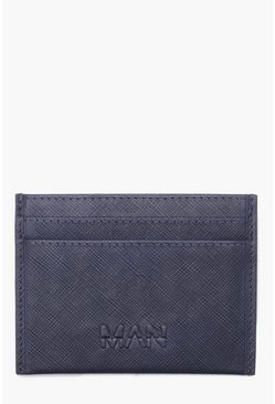 Mens Navy Real Leather MAN Deboss Saffiano Card Holder