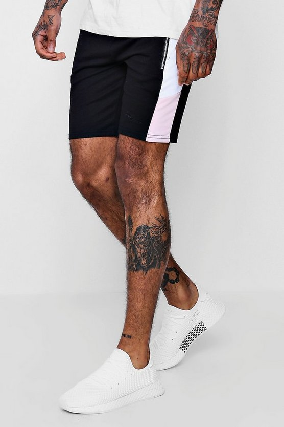 Mens Black MAN Signature Slim Mid Length Shorts