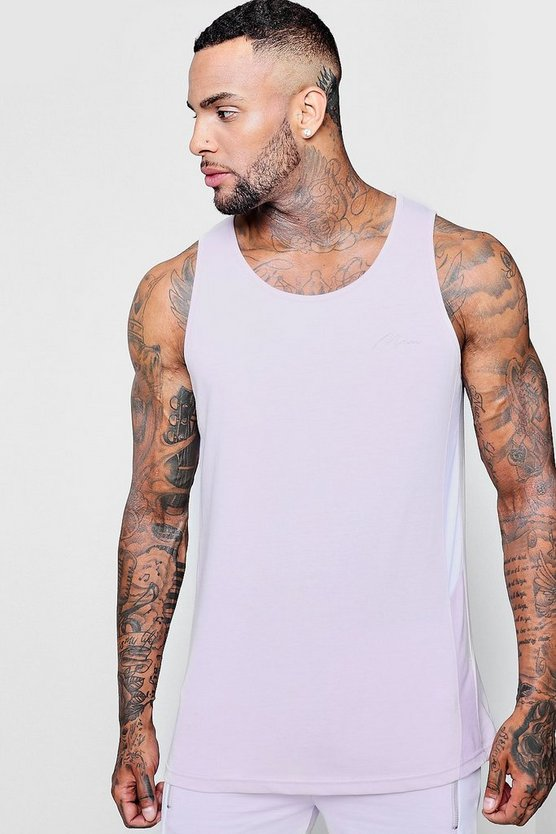 MAN Signature Longline Vest With Panelling