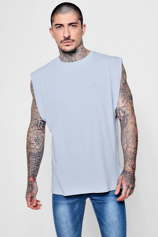 MAN Signature Embroidered Sleeveless Tank