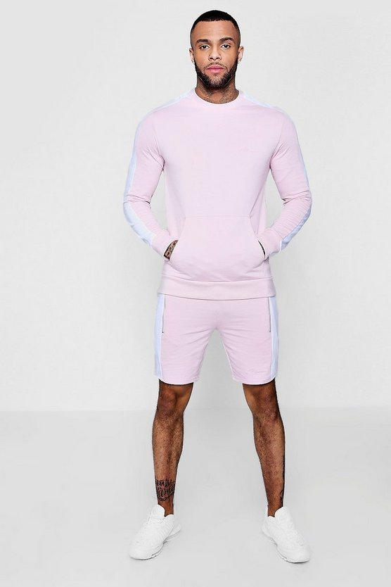 Ensemble sweat short à signature MAN