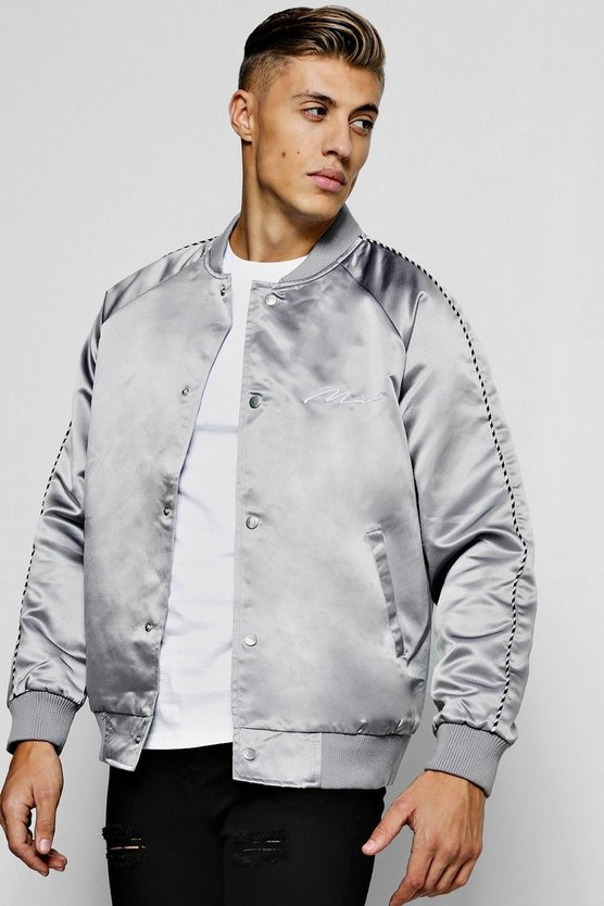 Satin Bomber Jacket With Chest Embroidery