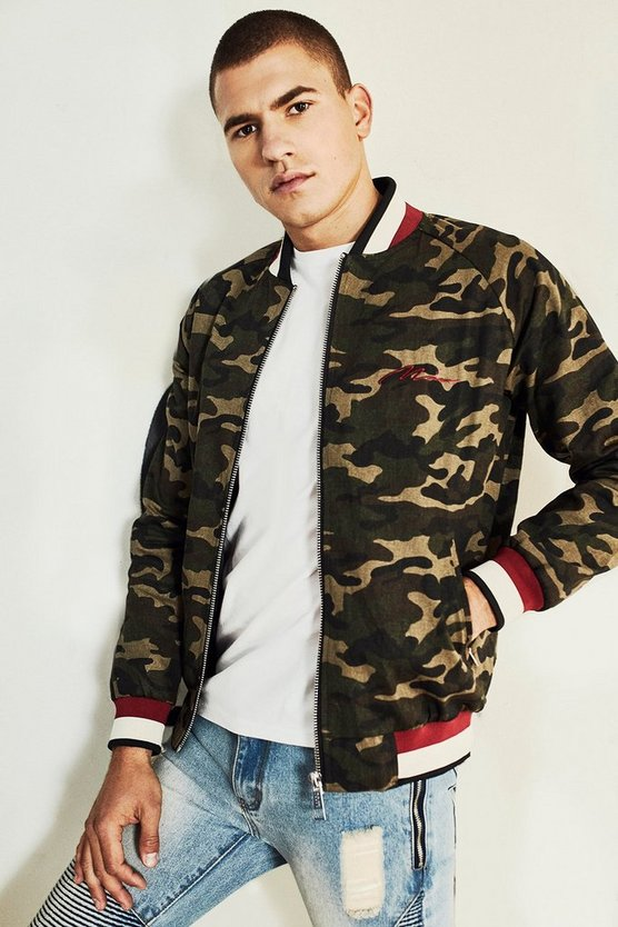 Camo Bomber Jacket With Chest Embroidery