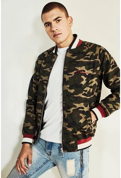 Mens Camo Bomber Jacket With Chest Embroidery