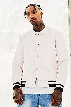 Satin Coach Jacket With Chest Embroidery