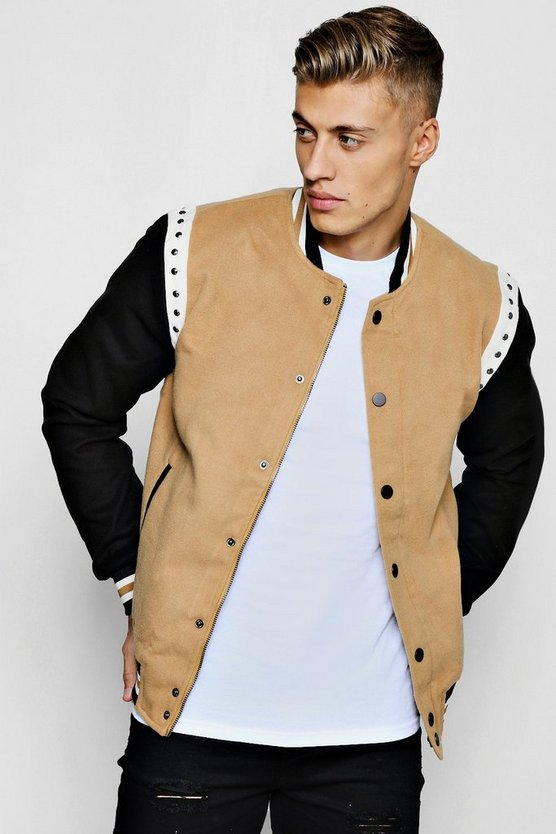 Mens Tan Stud Detailing Wool Look Bomber Jacket