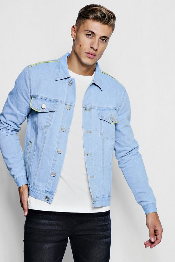 Skinny Fit Denim Jacket With Yellow Piping