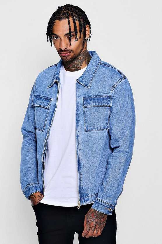 Dele Zip Through Double Pocket Denim Shacket