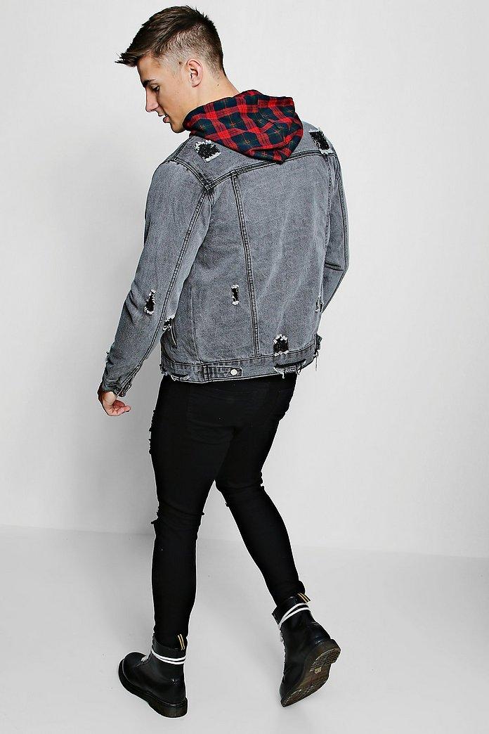 DA Giubbotto jeans senza colletto effetto consumato | boohoo
