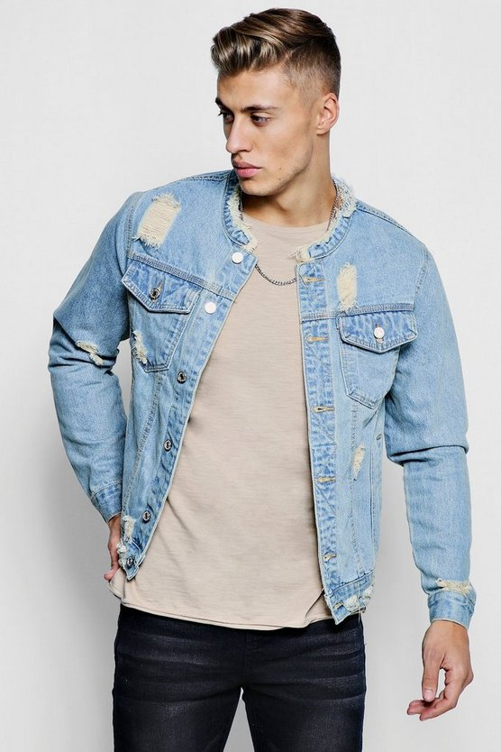 Collarless Denim Jacket With Distressing