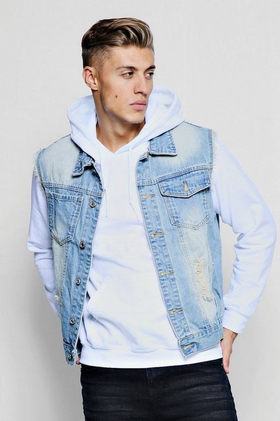 Dele Sleeveless Distressed Denim Jacket