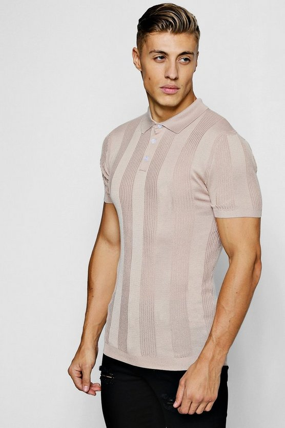 Mens Taupe Rib Stripe Knitted Muscle Fit Polo