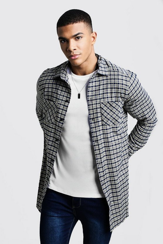 Dele Yellow Contrast Check Longline Long Sleeve Shirt