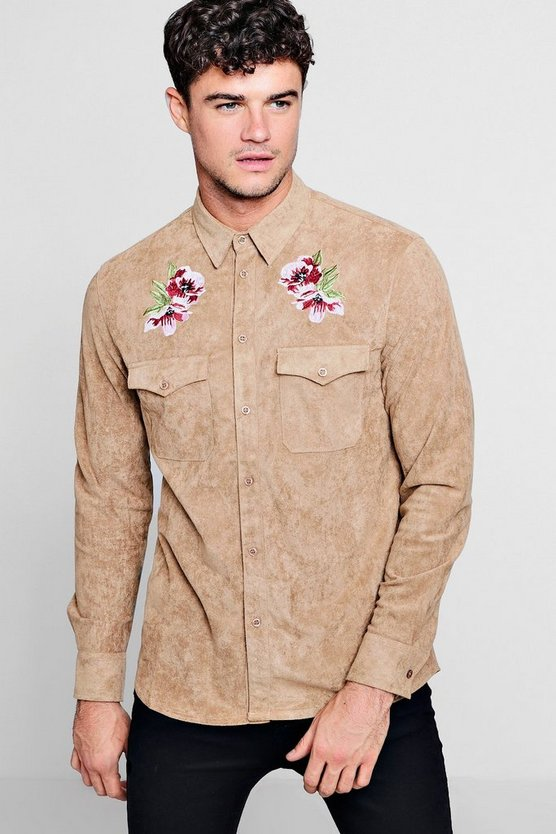 Stone Long Sleeve Suedette Shirt With Embroidery