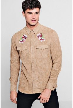 Mens Stone Long Sleeve Suedette Shirt With Embroidery