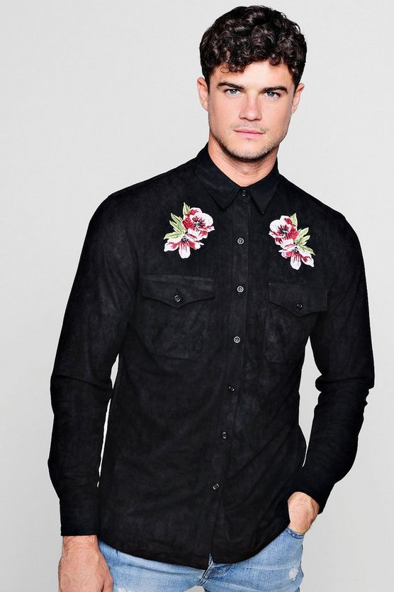 Long Sleeve Suedette Shirt With Embroidery