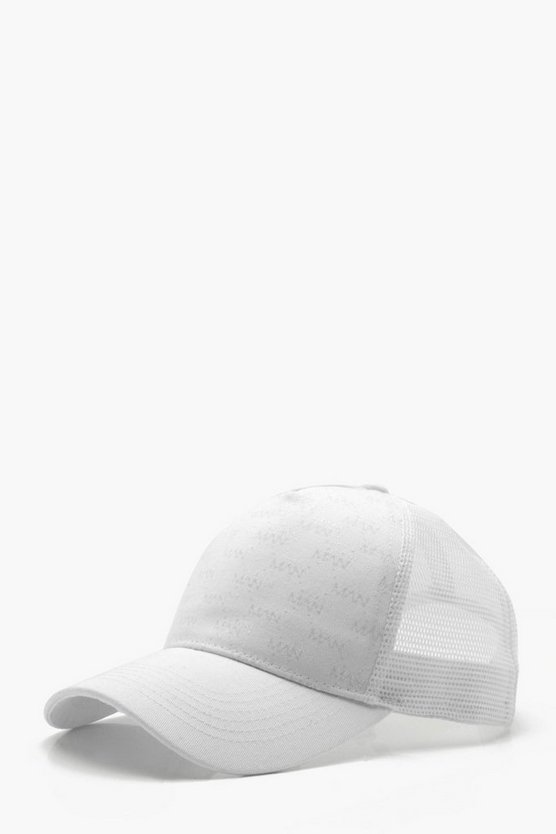 Man Repeat Logo Mesh Back Trucker