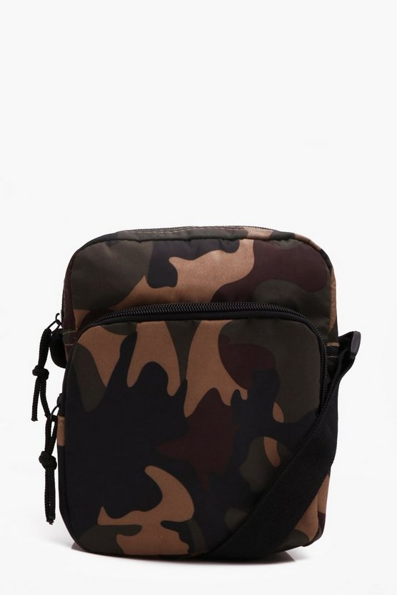 Nylon Camo Double Pocket Crossbody