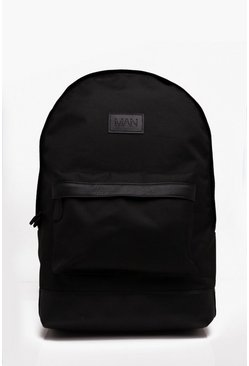 Mens Black Basic Nylon Man Patch Rucksack
