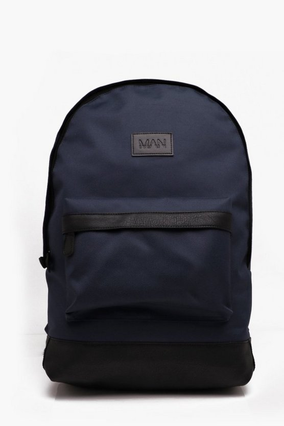 Mens Navy Basic Nylon Man Patch Rucksack