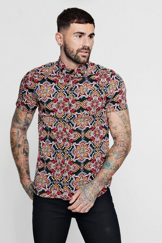 Mens Black Paisley Mandala Print Short Sleeve Shirt