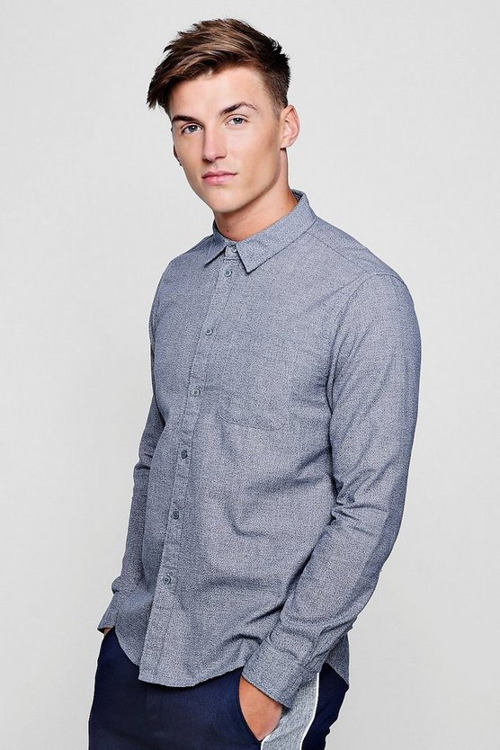Blue Texture Effect Long Sleeve Shirt