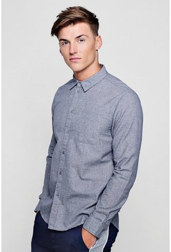 Blue Texture Effect Long Sleeve Shirt, HOMMES