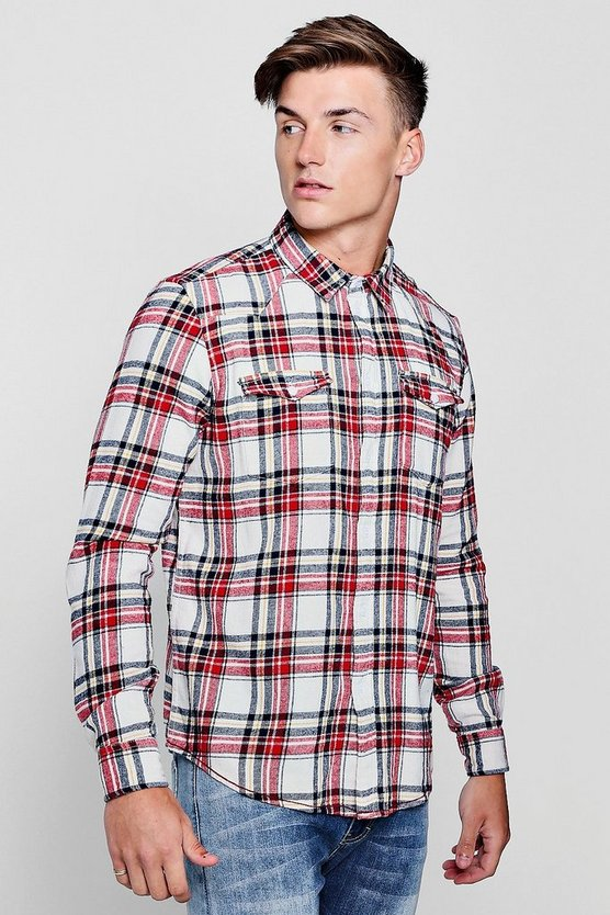 Double Pocket Stone Check Long Sleeve Shirt