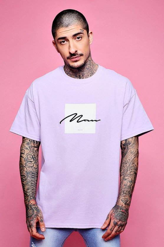 Mens Lilac Oversized Box Print T-Shirt With MAN Embroidery