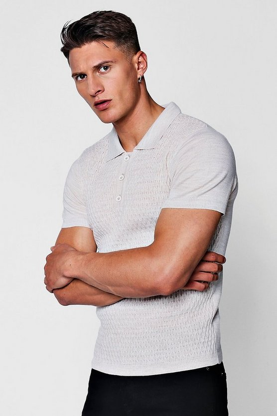 Mens Stone Short Sleeve Textured Knitted Polo