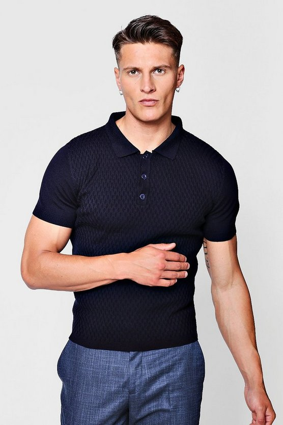 Mens Navy Short Sleeve Textured Knitted Polo