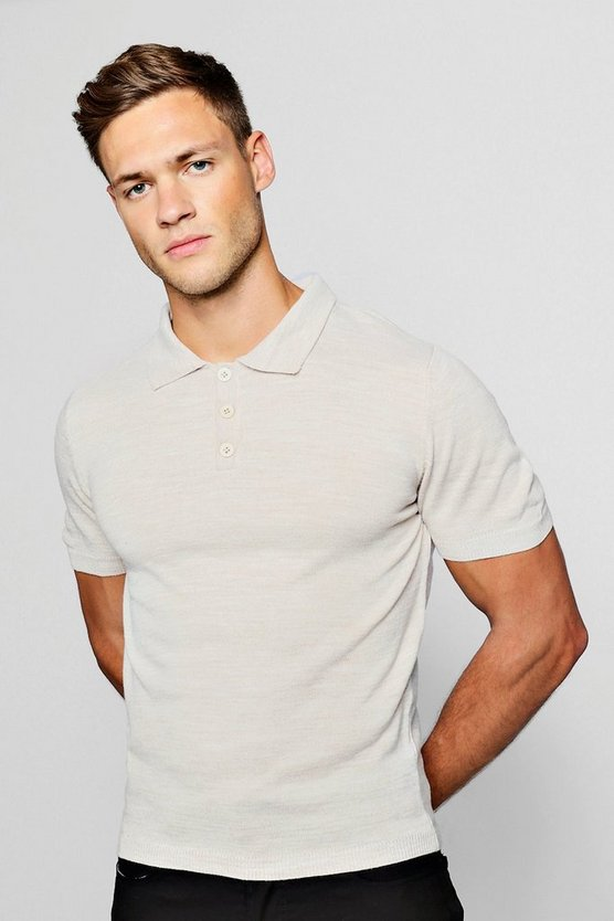 Mens Stone Soft Touch Knitted Polo