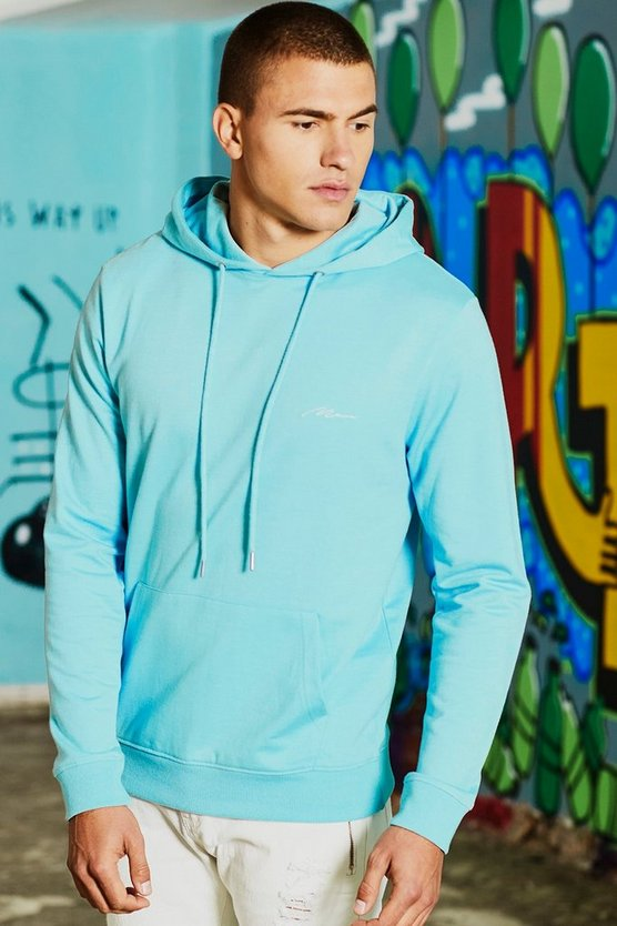 Light blue Dele MAN Signature Embroidered Hoodie