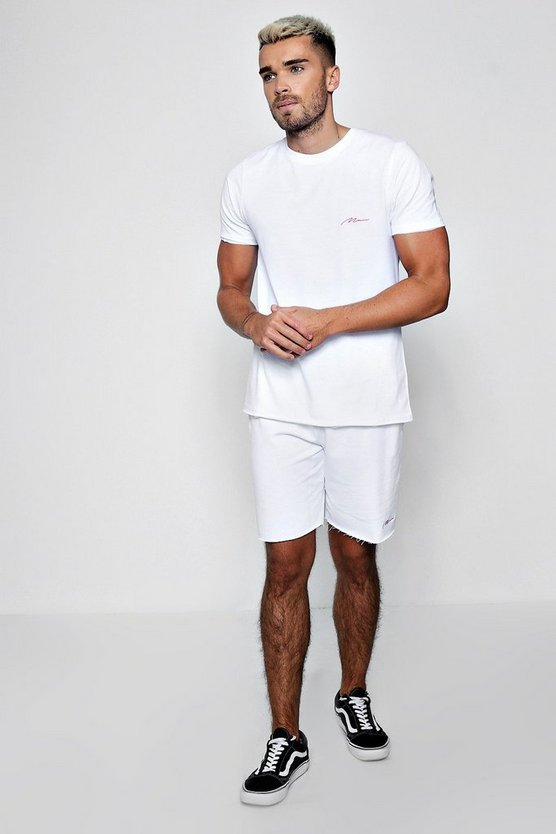 MAN Signature T-Shirt & Short Set, White, Uomo