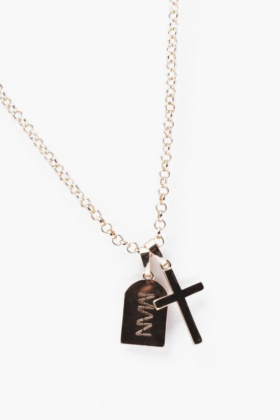 MAN Signature And Cross Necklace