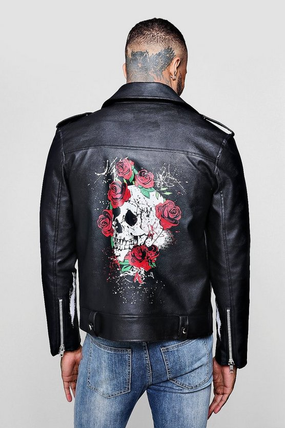 Mens Black Printed Statement Biker