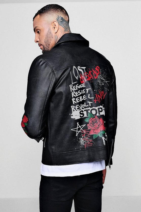 Graffiti Printed Biker Jacket