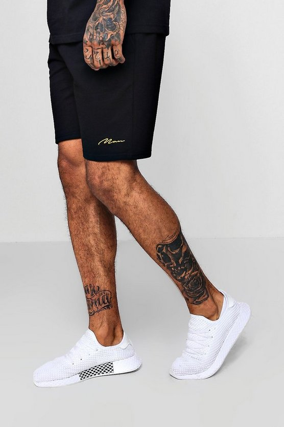 Mens Black MAN Signature Embroidered Mid Length Jersey Short