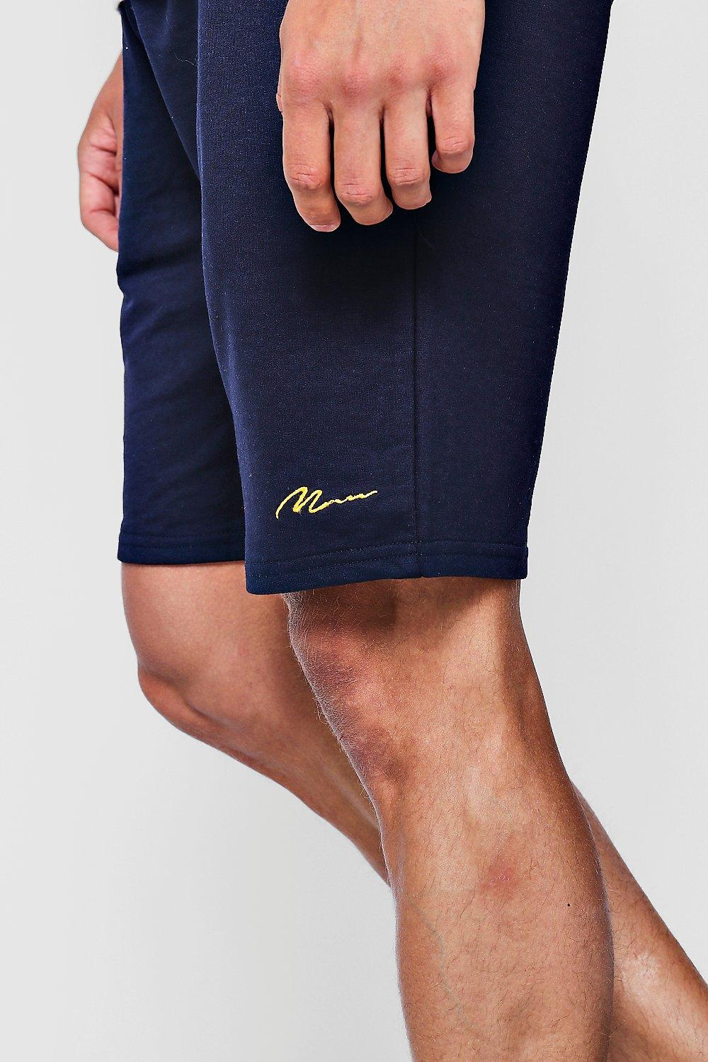 Embroidered Jersey navy MAN Short Mid Length Signature TwHAAxqp15