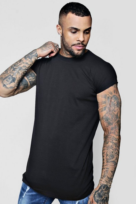 Black Longline Cap Sleeve T-Shirt