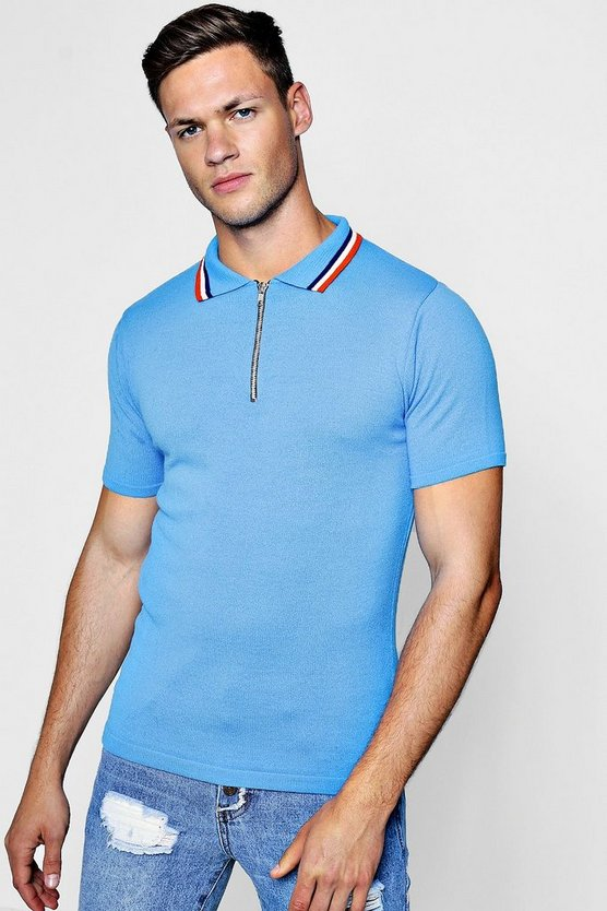 Zip Neck Muscle Fit Knitted Polo