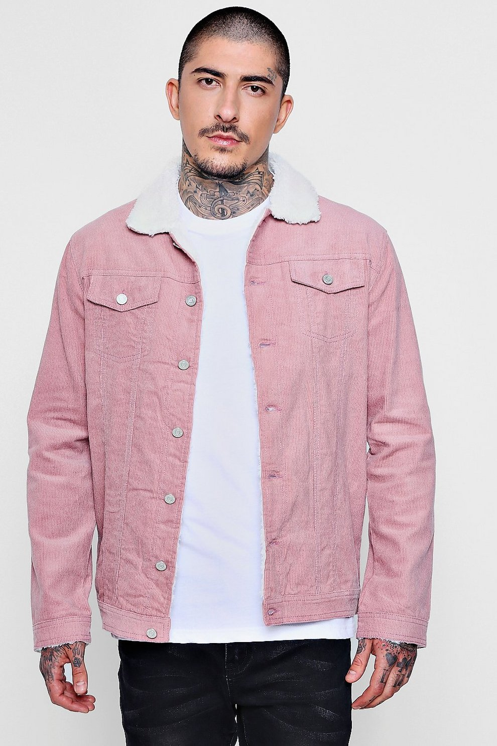 e40de3224f94 Mens Dusky pink Borg Collar Corduroy Western Jacket