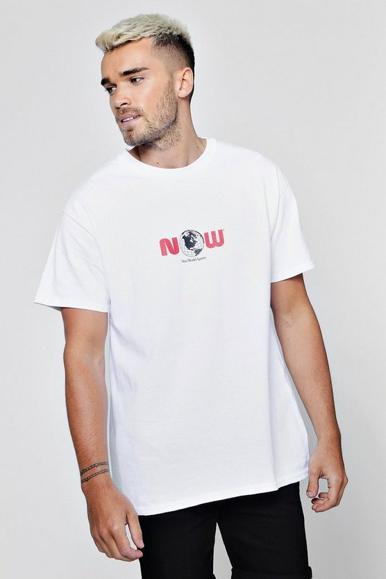 Oversized Now Agency Slogan Print T-Shirt With Back Print