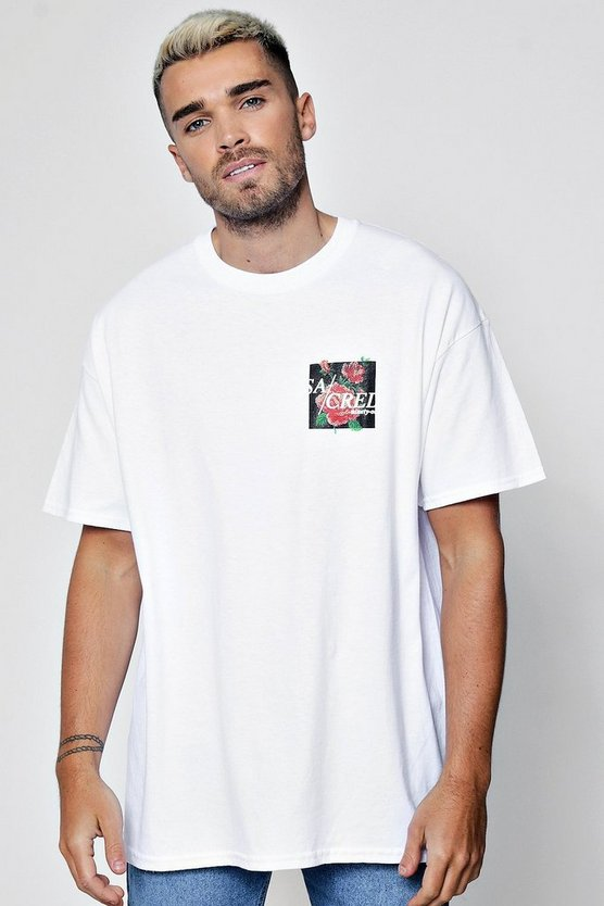 Mens White Oversized Sacred Slogan Puff Print T-Shirt
