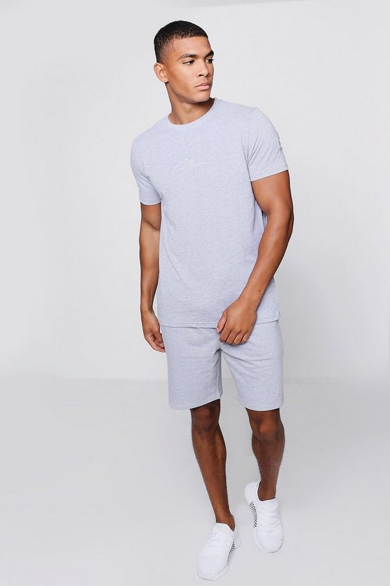 MAN Signature Embroidered T-Shirt Co-ord