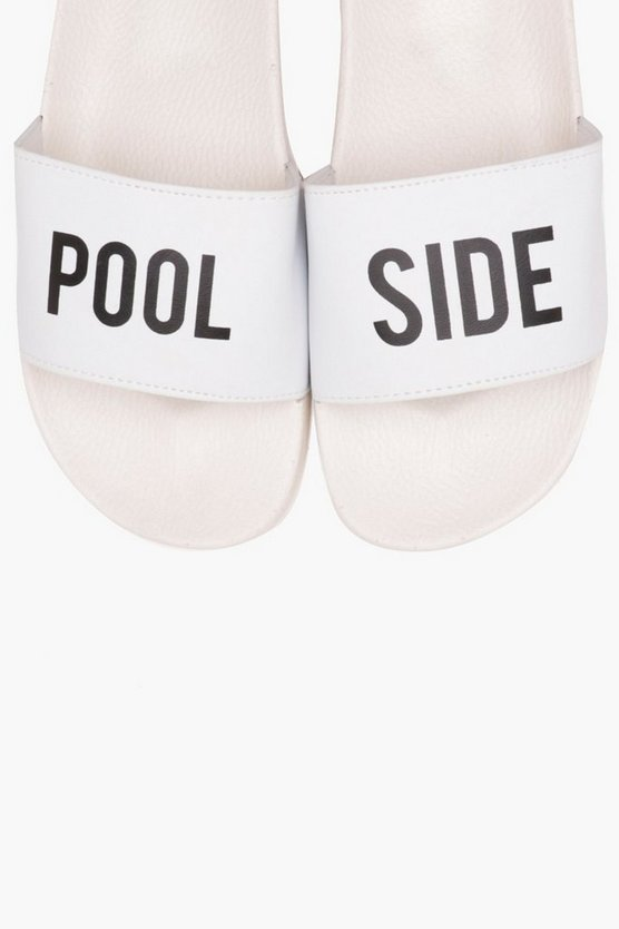 Mens White Pool Side Slider