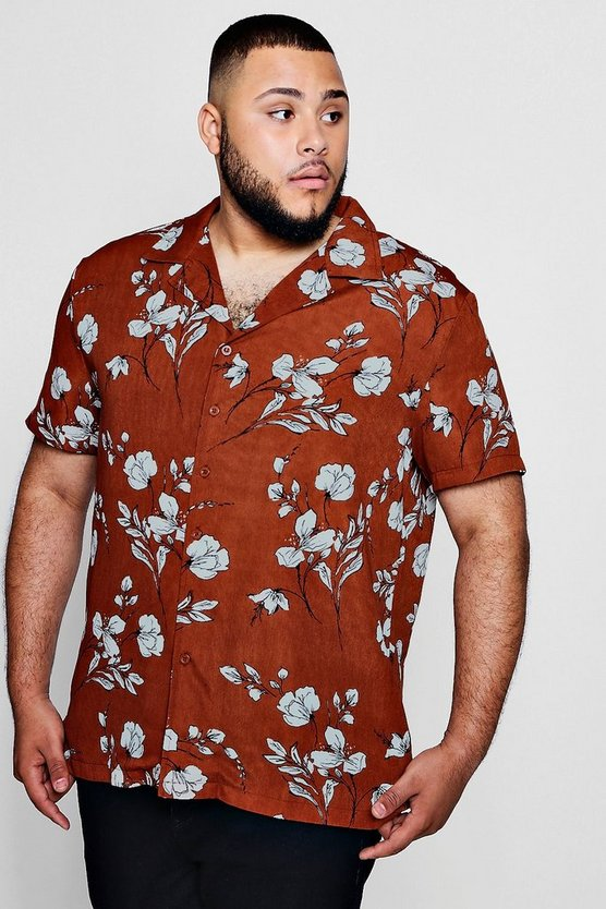 Big And Tall Large Floral Revere Collar Shirt
