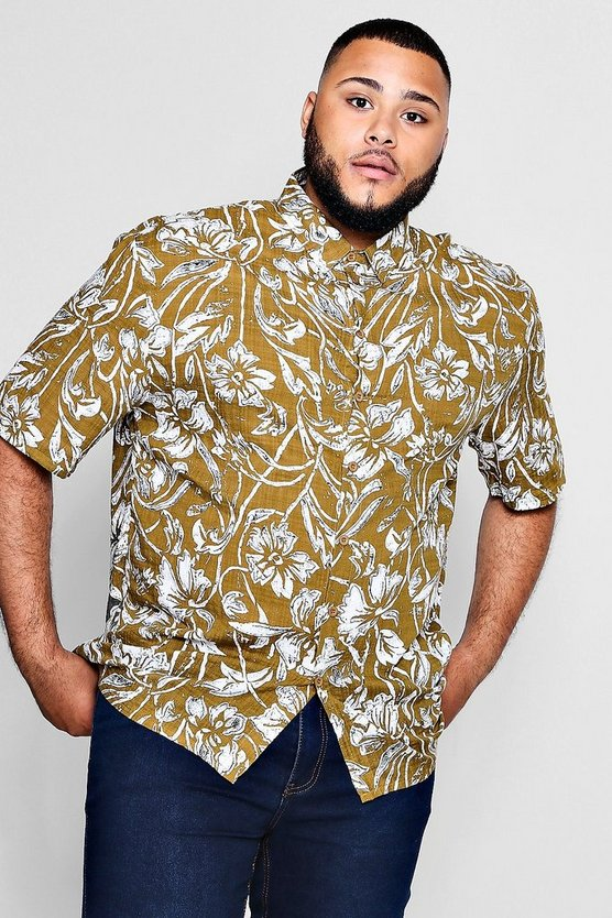 Big And Tall Retrol Floral Print Shirt
